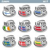 European football flags Stock Photo