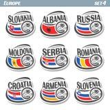 European football flags vector illustration