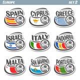 European football flags. Vector logo for European football, soccer Spain, Cyprus, Greece, Israel, Italy, Andorra, Malta, San Marino, Portugal, set 9 isolated Royalty Free Stock Image