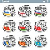European football flags Stock Photos