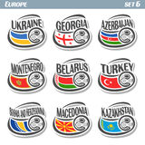 European football flags. Vector logo for European football, soccer Ukraine, Georgia, Azerbaijan, Montenegro, Belarus, Turkey, Bosnia and Herzegovina, Macedonia Stock Photos
