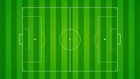 European football, soccer field on horizontal background.. Field with markings and trimmed lawn, view from above. Plan for the development of tactics and Royalty Free Stock Photo