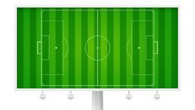 European football, soccer field on horizontal billboard. Field with markings and trimmed lawn, view from above. Resizable vector illustration for your, ready Stock Photo