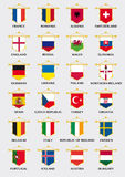European football team pennants with flag design Royalty Free Stock Photo