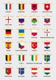 European football team pennants with flag design Royalty Free Stock Photo