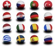 European Footballs 2008. Set of Footballs (soccer balls) of the representative nations of the upcoming European Championships in 2008 Royalty Free Stock Photo