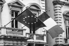 European and French Flag attached to a buidling Stock Photography
