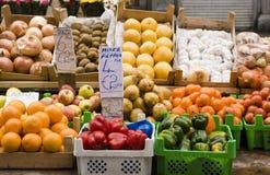 European Fruit and Vegetable Stand. European Assorted Fruit and Vegetable Stand Royalty Free Stock Photos