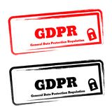 European GDPR stickers, european privacy policy law. Royalty Free Stock Photo