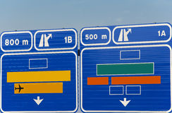 European generic information road highway signpost in blue tone Stock Image