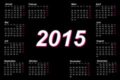 European german 2015 year calendar. With week starting from monday Royalty Free Stock Images