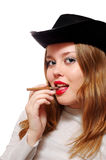 European Girl With Cigarette Stock Image