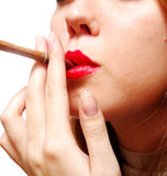 European Girl With Cigarette Royalty Free Stock Photos