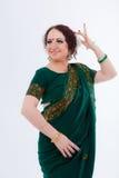 European girl in green indian saree Stock Photo