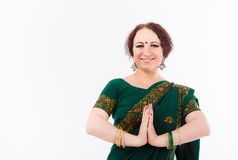 European girl in green indian saree Royalty Free Stock Images