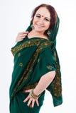 European girl in green indian saree Royalty Free Stock Photo