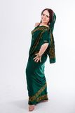 European girl in green indian saree Royalty Free Stock Image