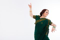 European girl in green indian saree Royalty Free Stock Photos