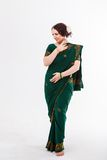 European girl in green indian saree Stock Images
