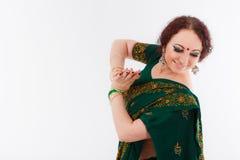 European girl in green indian saree Royalty Free Stock Photos