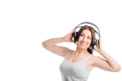 European girl with headphones Royalty Free Stock Image