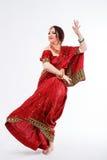 European girl in red indian saree Royalty Free Stock Photos