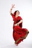 European girl in red indian saree Stock Photos