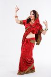 European girl in red indian saree Stock Photography