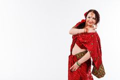 European girl in red indian saree Royalty Free Stock Images