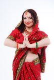 European girl in red indian saree Royalty Free Stock Photography