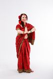 European girl in red indian saree Stock Image