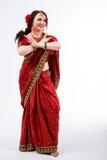 European girl in red indian saree Stock Photo