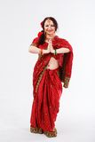 European girl in red indian saree Stock Images