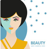 European girl.Vector illustration in a flat design. Label, badge girl Royalty Free Stock Photography