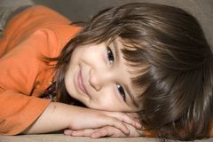 European Girl Victoria. European four-year-old brown-eyed smiling girl Victoria Royalty Free Stock Photos