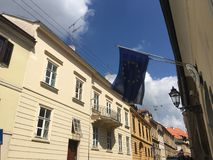 European and greek flag. In the old town of Zagreb Croatia Royalty Free Stock Photography