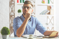 European guy with spiral notepad Stock Images