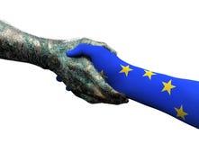 European hand shaking robothand isolated on white Royalty Free Stock Image