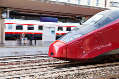 European high-speed train on railway station Stock Photo