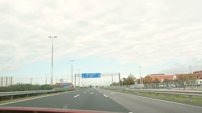 European highway with cars and gas station stock video