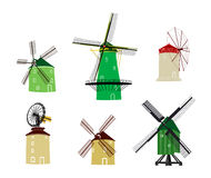 European historical windmills set Royalty Free Stock Images