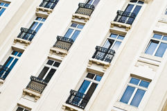 European hotel facade. Facade of a hotel building with wrought iron balconies in Bucharest stock photo