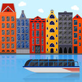 European house. Flat style. Tourist boat. Royalty Free Stock Images