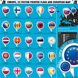 European Icons Round Indicator Flags and Map Set2 Stock Photos