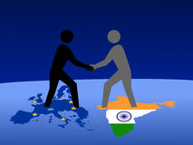 European and Indian meeting stock images