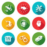 European integration of Ukraine Icons Set. Vector Illustration. Royalty Free Stock Images