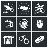 European integration of Ukraine Vector Icons Set Stock Photos