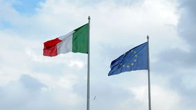European and Italian Flags waving stock footage