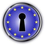 European Key. Keyhole with the european flag Royalty Free Stock Photos