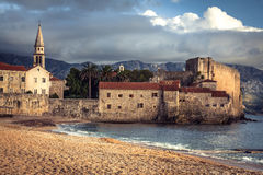 European landmark sea fort with medieval architecture at sunset beach in Europe country Montenegro of Balkan peninsula Stock Image